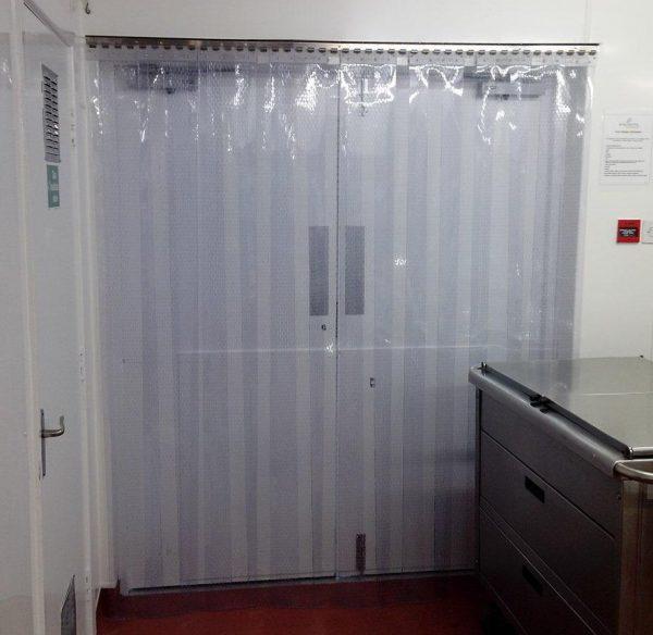 Perforated strip screen fly door