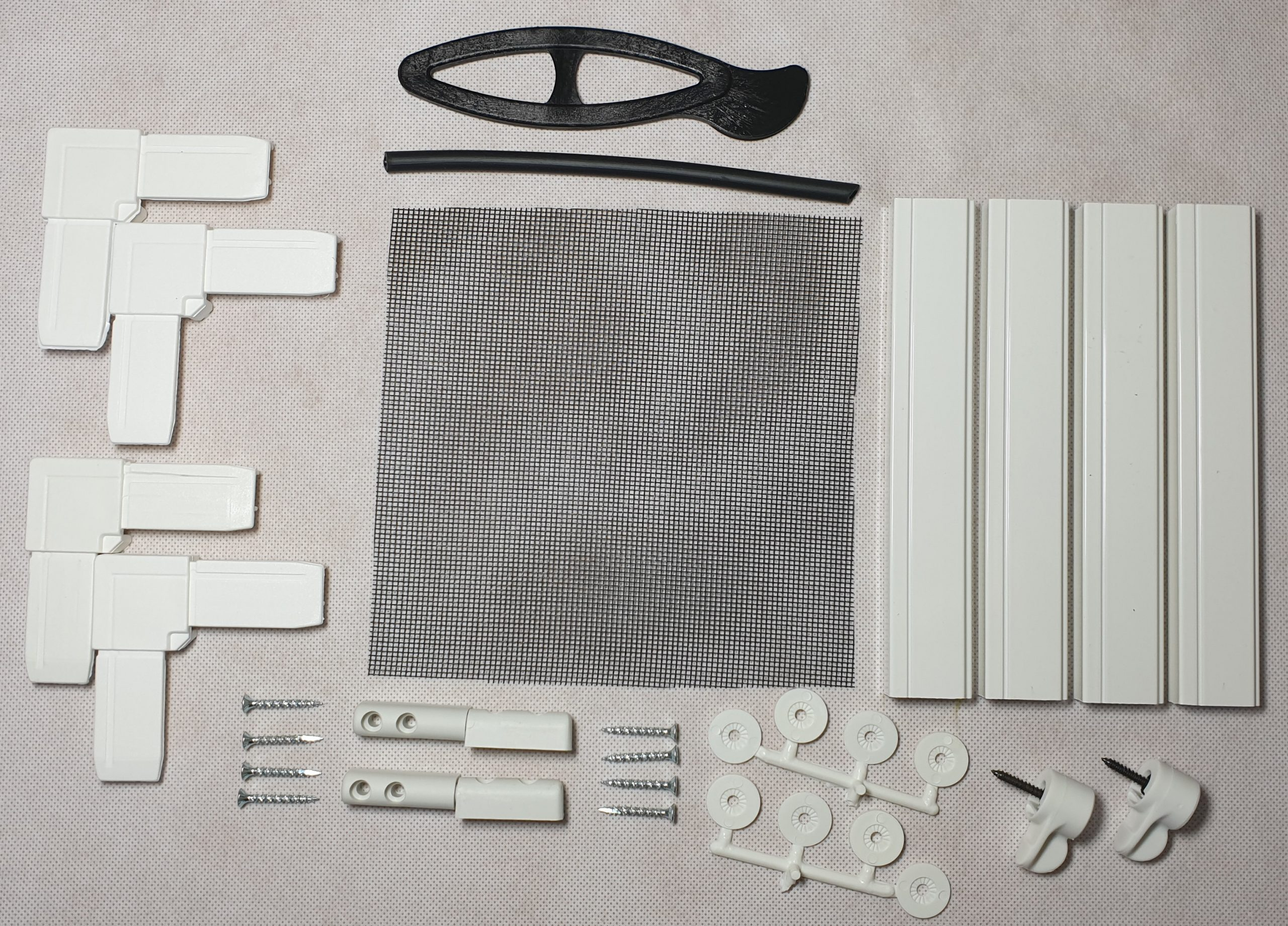Hinged fly screen kit components